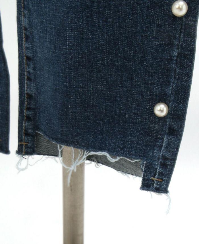 サイドパールカットオフデニム 裾