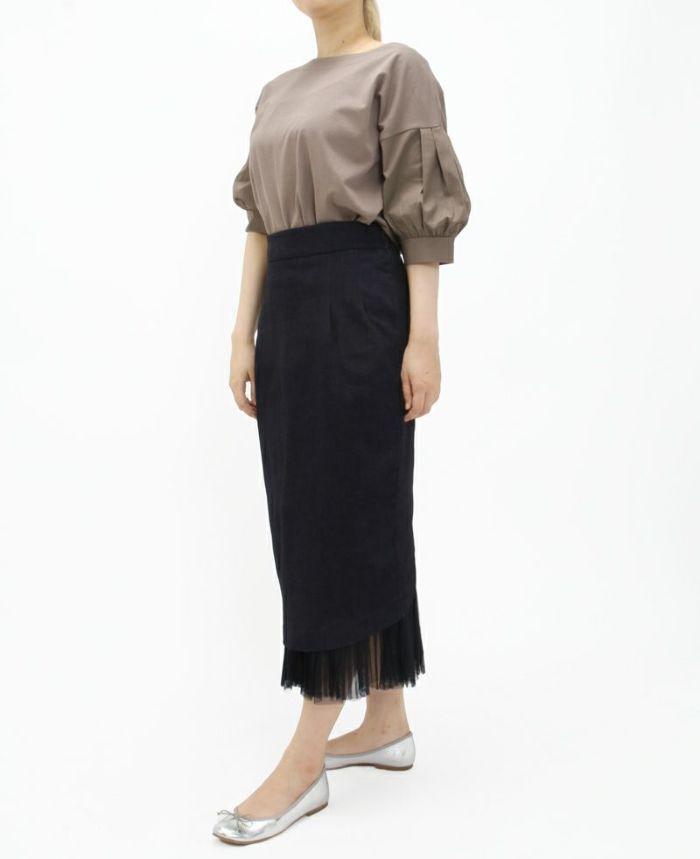 タックスリーブコットンTシャツ グレージュにデニムスカートをコーデ