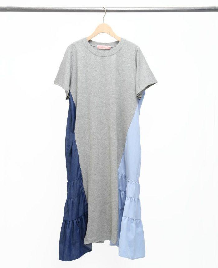 サイド異素材Tシャツワンピ グレー