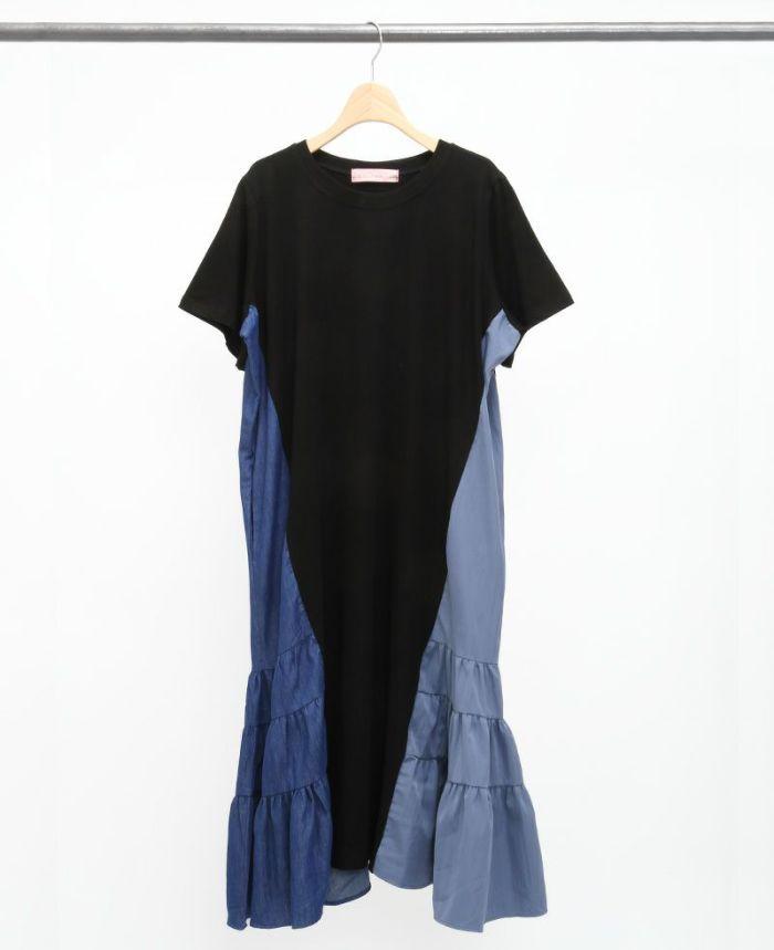 サイド異素材Tシャツワンピ ブラック