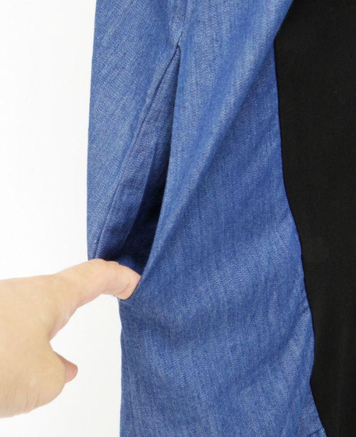 サイド異素材Tシャツワンピ ポケット