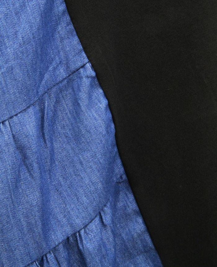 サイド異素材Tシャツワンピ 切替部分