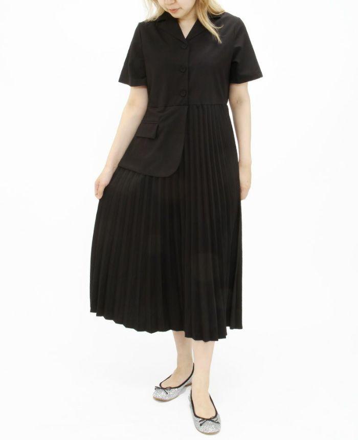 ブラックのドッキングギャザーシャツワンピにグリッターのバレエシューズで大人っぽく