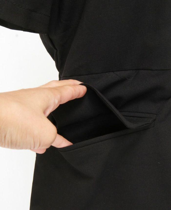 ドッキングギャザーシャツワンピ ポケット