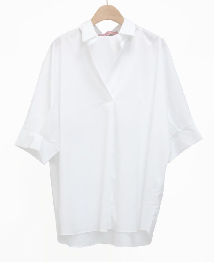 半袖スキッパーブラウス ホワイト