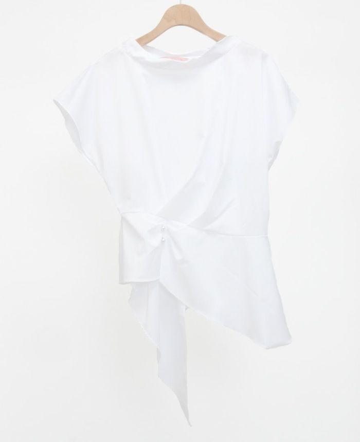 フレンチスリーブアシメヘムブラウス ホワイト