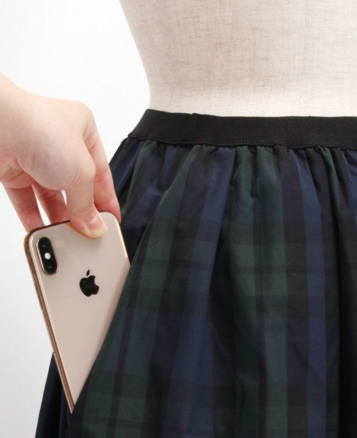 神戸・山の手タータンスカート マキシ丈 ポケット