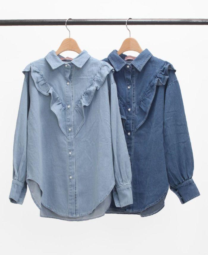 フリルデニムシャツ ブルー ライトブルー