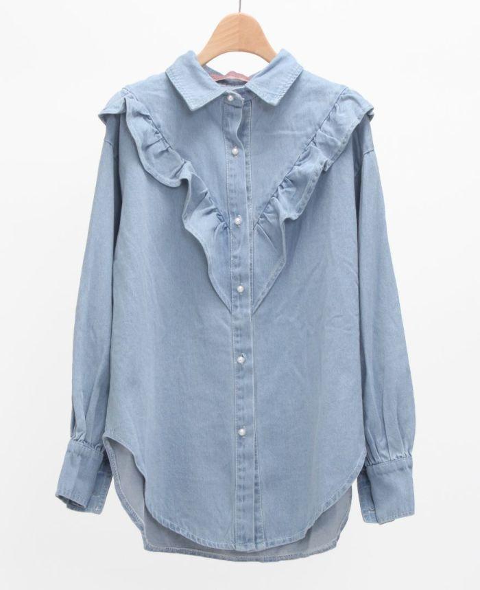 フリルデニムシャツ ライトブルー