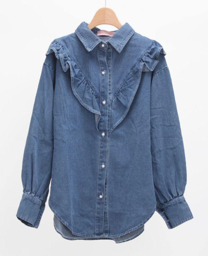 フリルデニムシャツ ブルー