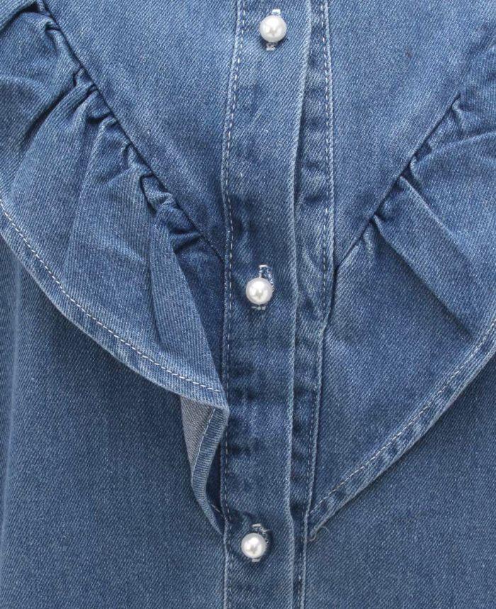 フリルデニムシャツ フロント ボタン パール