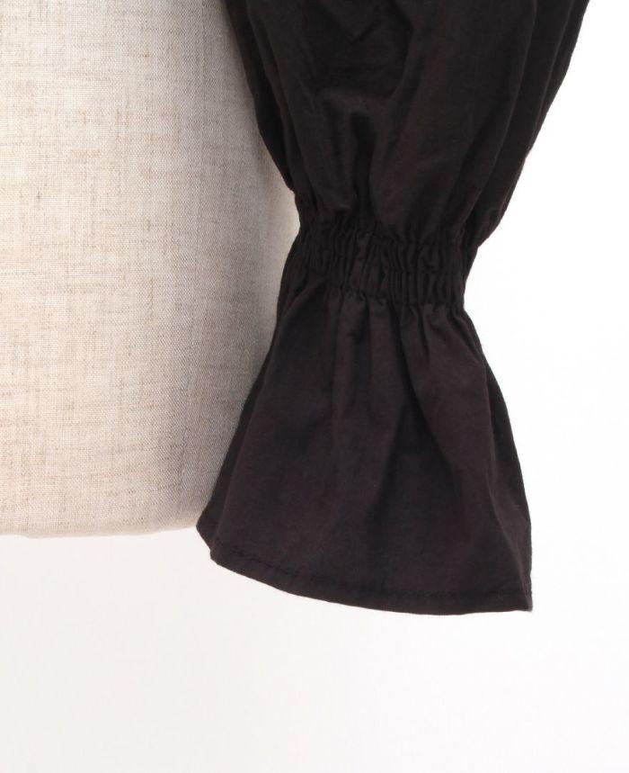 ボリュームスリーブニットトップス シャーリング ブラック 袖