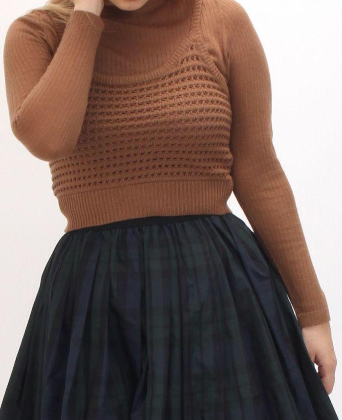 リブニット+カギ編みビスチェSET タータンチェック スカート