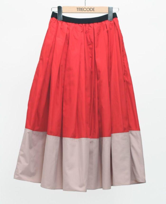 神戸・山の手 だんだんエシカルスカート ミモレ丈 レッド×ピンク