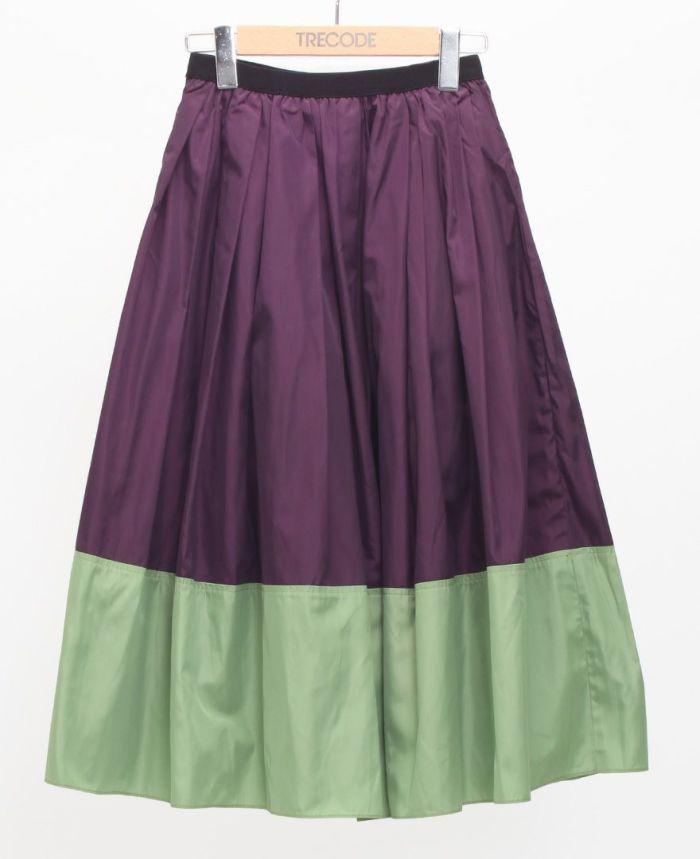 神戸・山の手 だんだんエシカルスカート ミモレ丈 パープル×グリーン