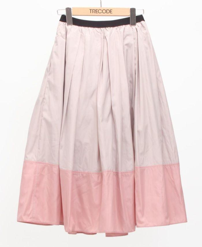 神戸・山の手 だんだんエシカルスカート ミモレ丈 アーモンド×ピンク