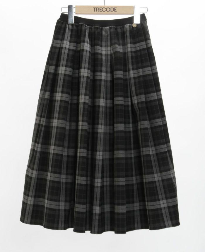 神戸・山の手 チェックスカート ミモレ丈 ブラック