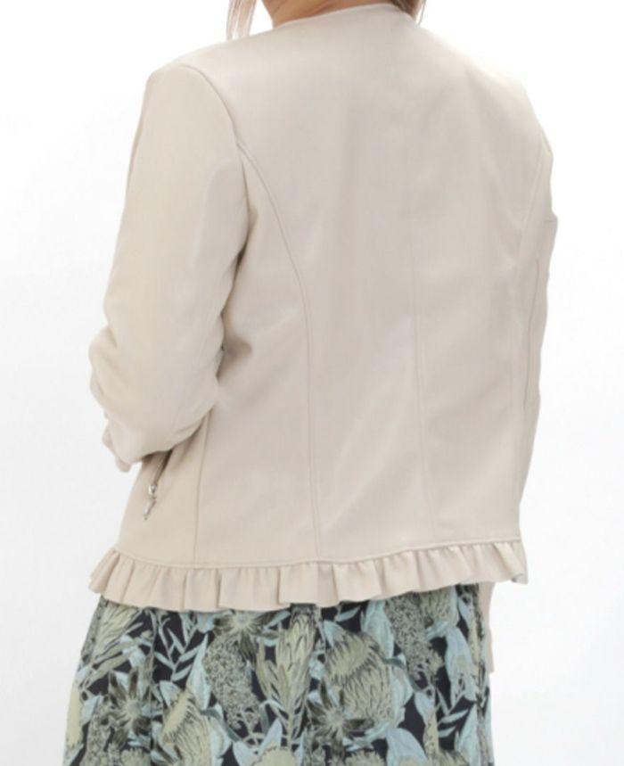 フェイクレザージャケット 花柄ジャガードを合わせた秋冬コーディネート
