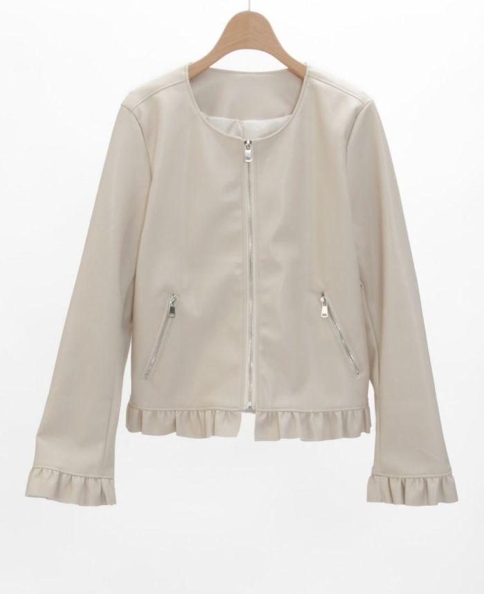 フェイクレザージャケット アイボリー 軽い素材 着やすい 大人可愛い