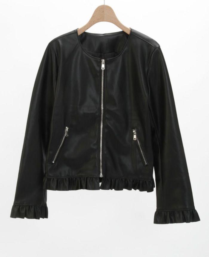 フェイクレザージャケット ブラック 軽い素材 着やすい