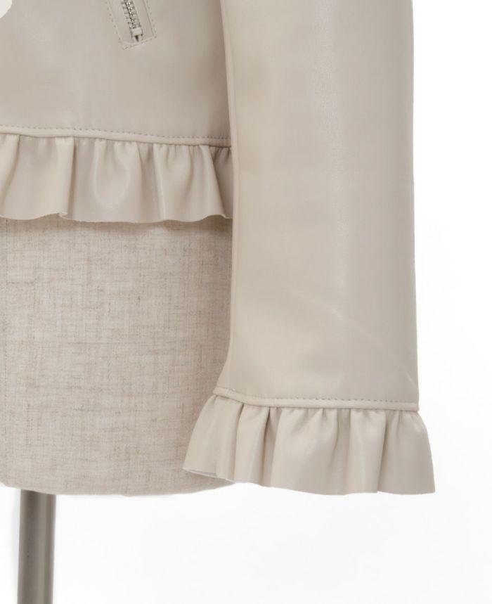 フェイクレザージャケット 裾 袖 フリル