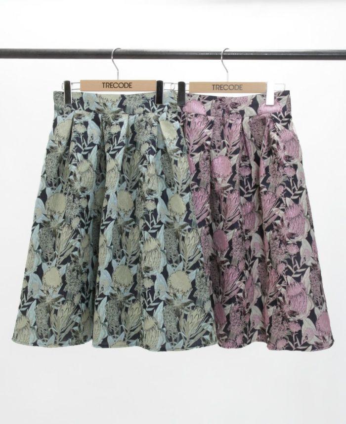 花柄ジャガードフレアスカート グリーン・ピンク 秋冬スカート