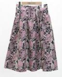 花柄ジャガードフレアスカート ピンク