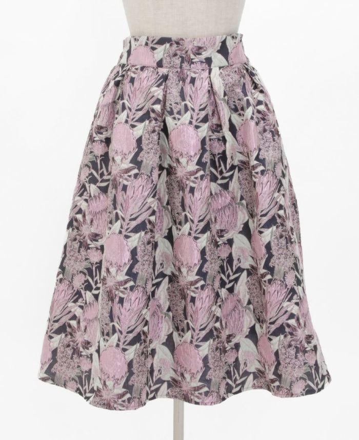 花柄ジャガードフレアスカート フロント