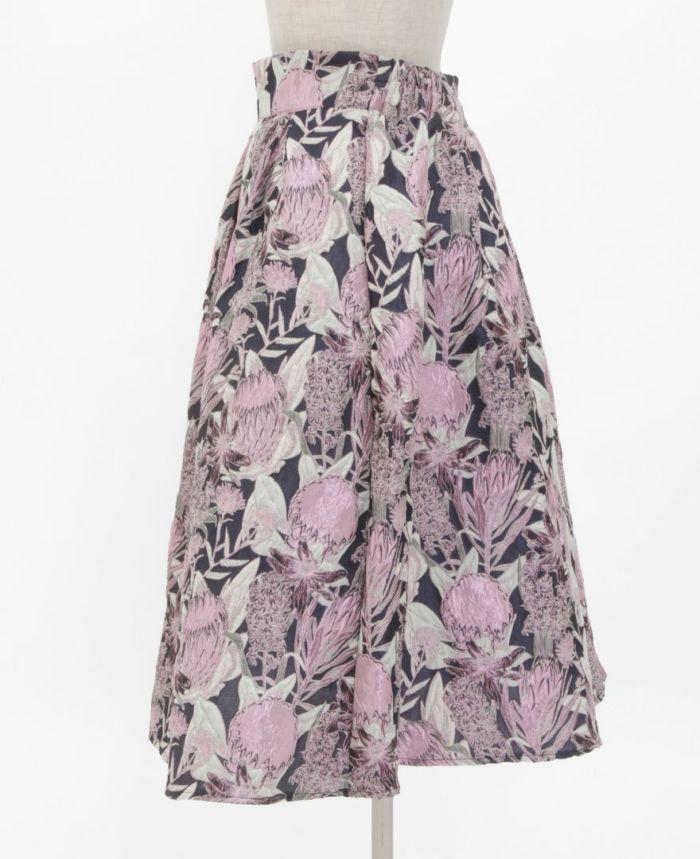 花柄ジャガードフレアスカート サイド