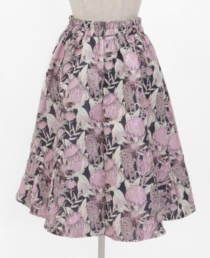 花柄ジャガードフレアスカート バックスタイル