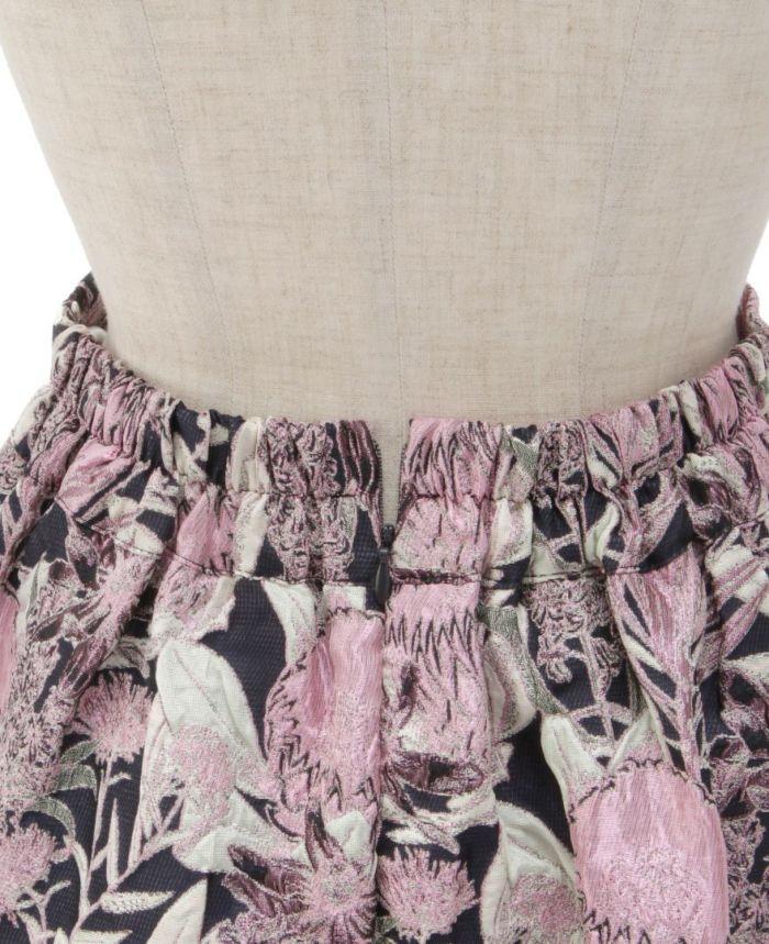 花柄ジャガードフレアスカート ウエストゴム