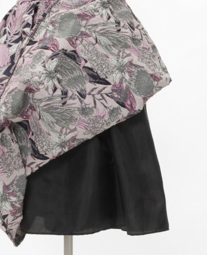 花柄ジャガードフレアスカート 裏地あり 秋冬スカート
