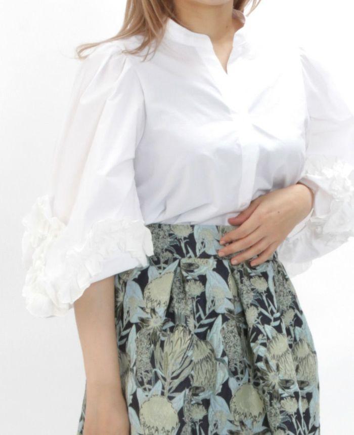 デザイン袖スキッパーブラウス ホワイト 花柄ジャガードスカート グリーン