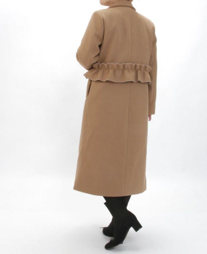 ウエストフリルコート バックフリルが可愛い コート ベージュカラー 秋冬
