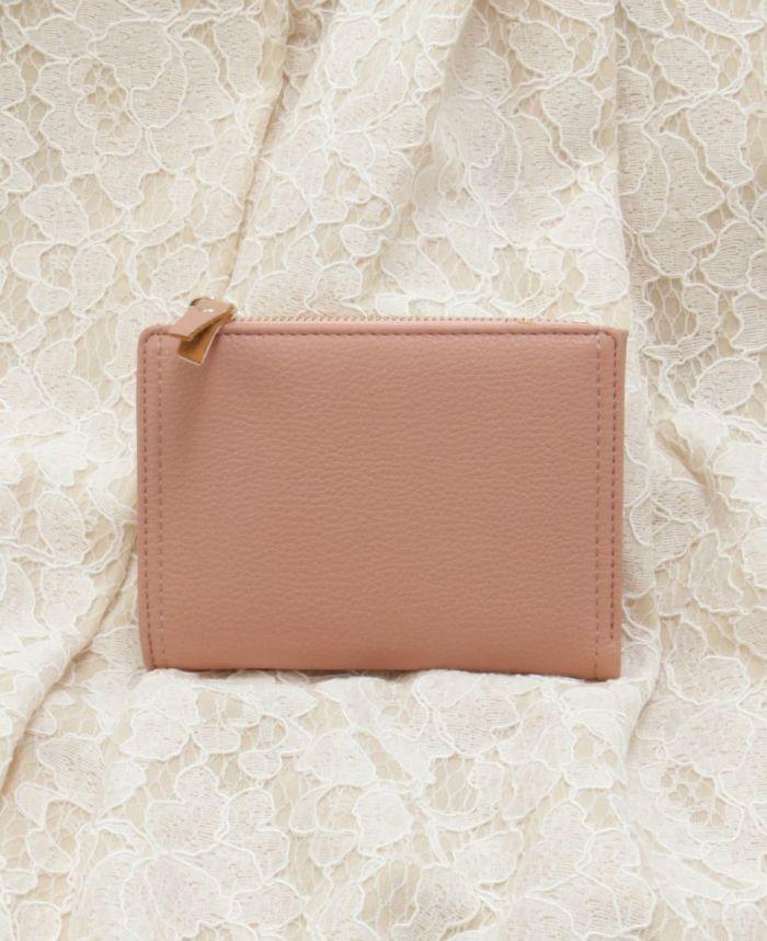 ミニウォレット 二つ折り財布 スモールウォレット ピンク