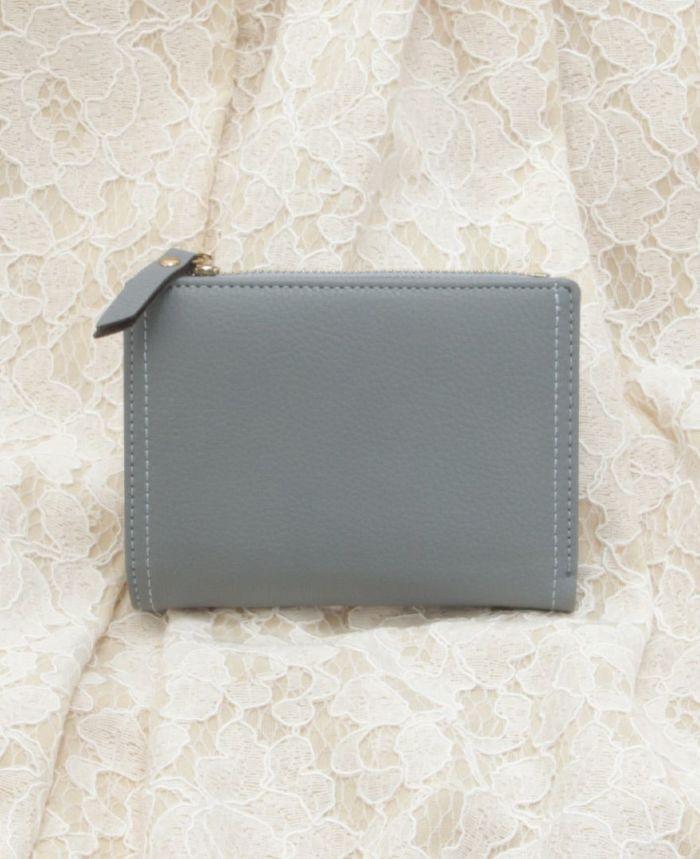 ミニウォレット 二つ折り財布 スモールウォレット ブルー