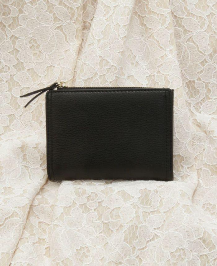 ミニウォレット 二つ折り財布 スモールウォレット ブラック