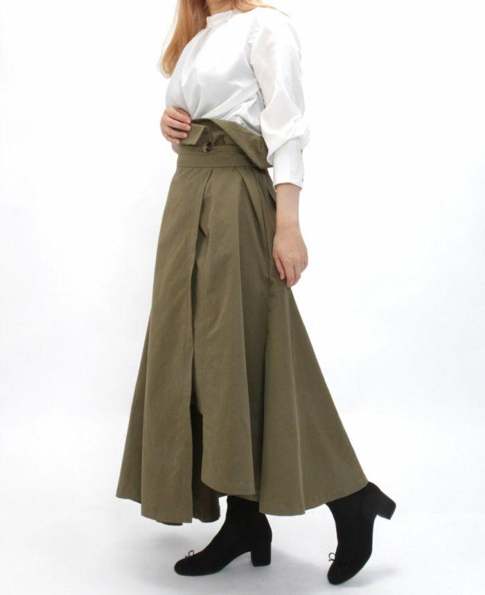 トレンチ風フレアスカート カーキと合わせたスカートコーディネート
