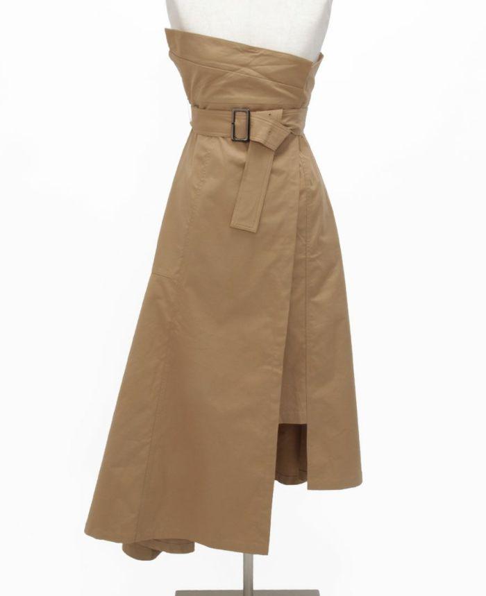 トレンチ風フレアスカート フロント