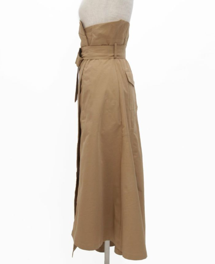 トレンチ風フレアスカート サイド