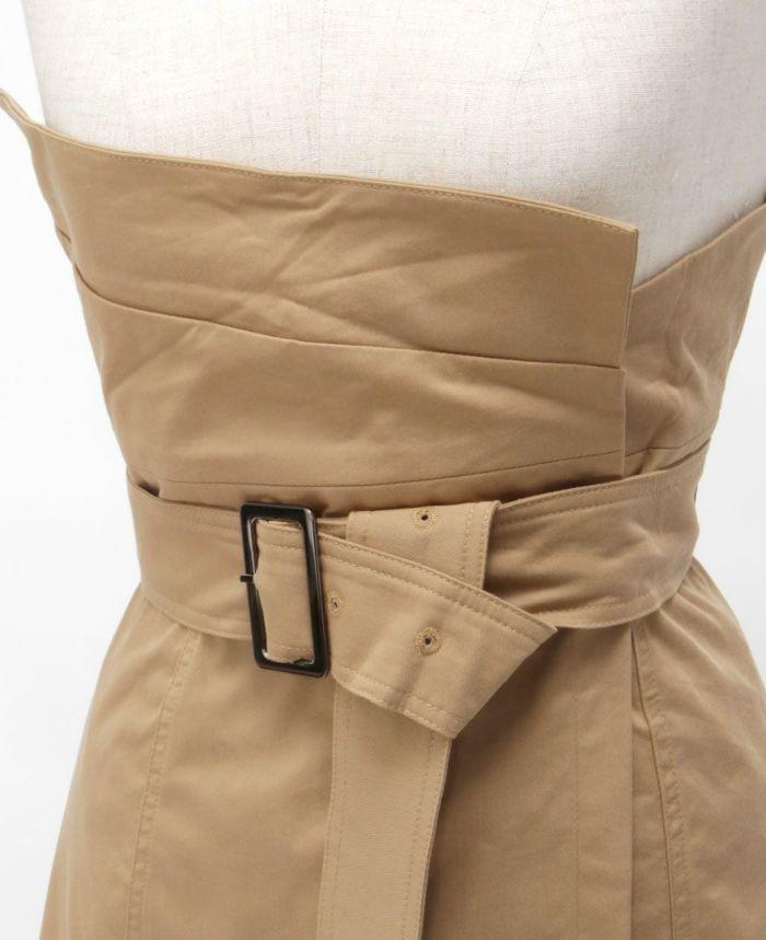 トレンチ風フレアスカート ワンピース風 アレンジ ベルト付き