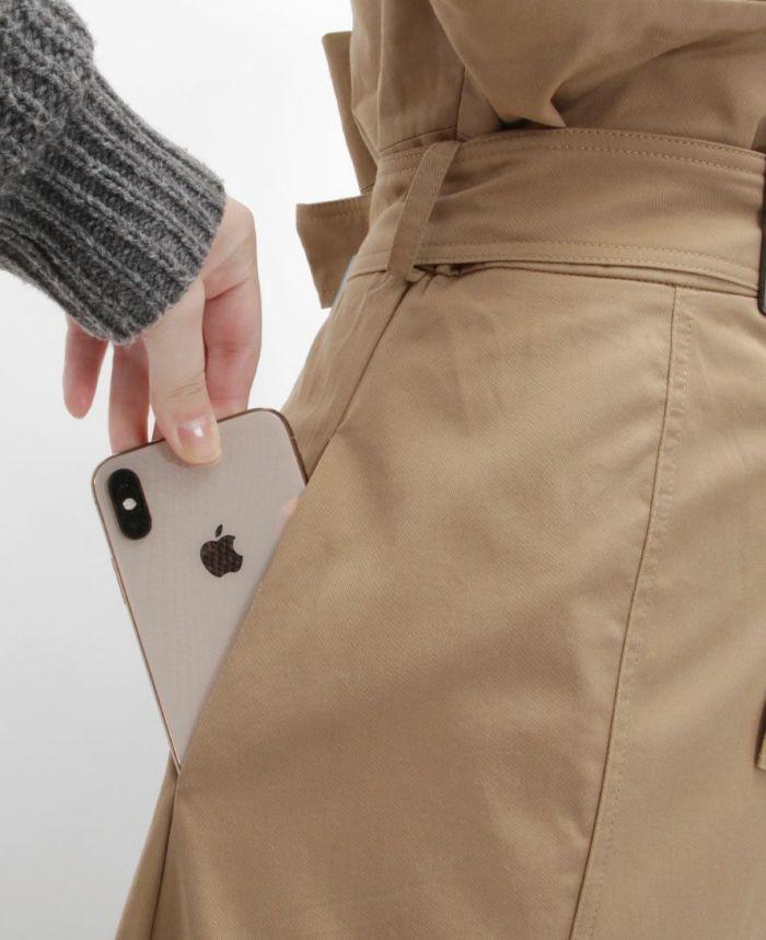 トレンチ風フレアスカート ポケット 両サイド