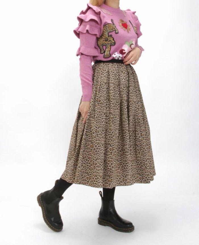 肩フリル刺繍ニット 虎ニット ピンク スカート