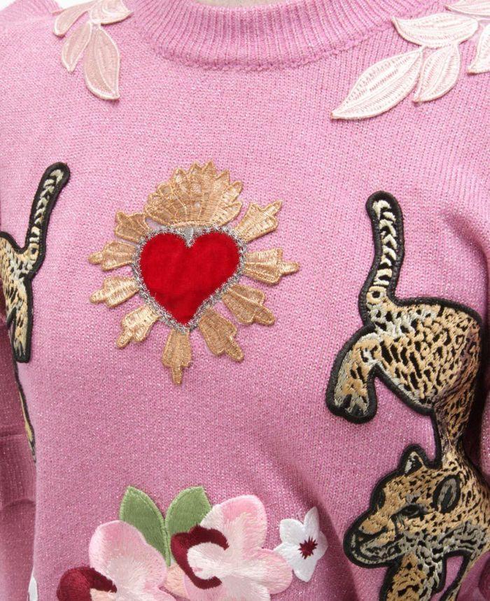 肩フリル刺繍ニット 虎ニット 刺繍 ハート