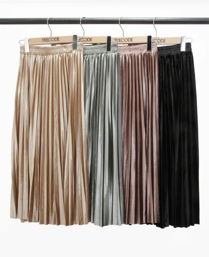 ベロアプリーツスカート ベージュ、カーキ、ブラウン、ブラック
