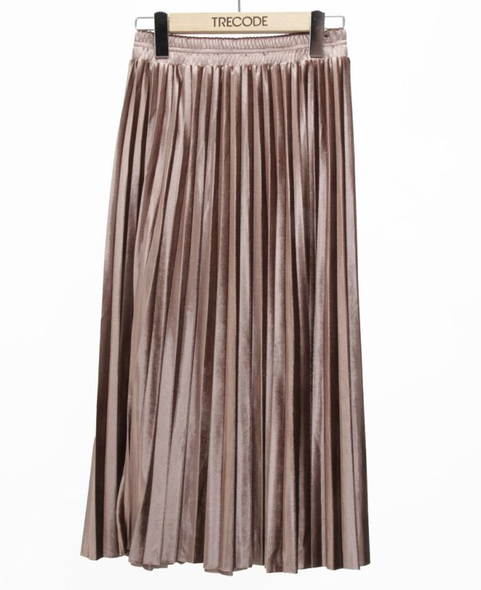 ベロアプリーツスカート ブラウン