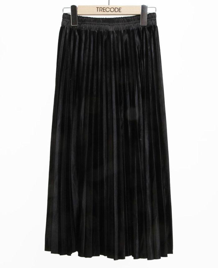 ベロアプリーツスカート ブラック
