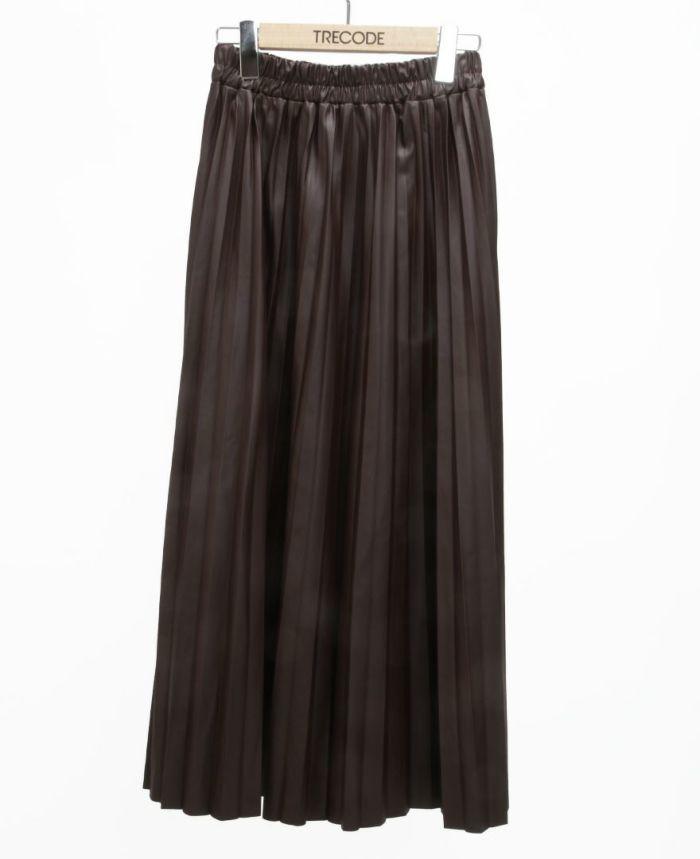 レザープリーツスカート ブラウン