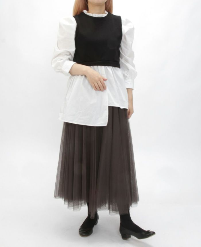 シャツドッキングニット チュールスカートと合わせた大人可愛いコーディネート