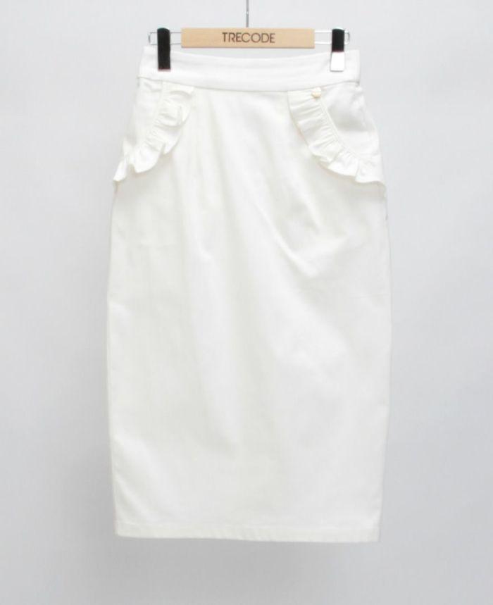 神戸・山の手ポケットフリルスカート ホワイト